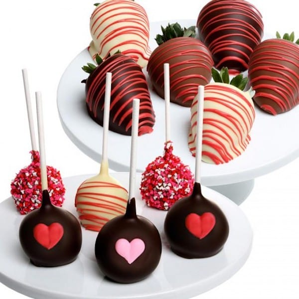 Valentines Day Chocolate Covered Strawberries and Cake Pops